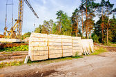 Powersaw bench - general view with many planks in the foreground — Stock Photo