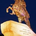 Bronze Horseman Statue at Night, Saint Petersburg, Russia — Stock Photo #54926637