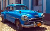 Vintage Blue Car, Trinidad, Cuba — Stok fotoğraf