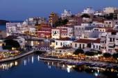 Agios Nikolaos City at Night, Crete, Greece — 图库照片