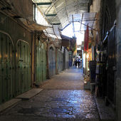 Narrow Dark Streets of Old City, Jerusalem — Stock Photo