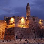 Ancient Citadel inside Old City at Night, Jerusalem — Foto Stock