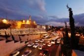 Walls of Ancient City at Night, Jerusalem — Stock Photo