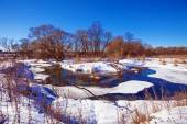 Forest River with Snow at Early Spring — Stock Photo