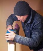 Carpenter Working Polishing Machine — Stock Photo