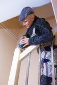 Carpenter Working Polishing Machine — Стоковое фото