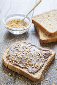 Toast bread with creamy chocolate and hazelnut, delicious breakf — Stock Photo