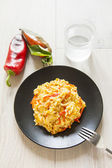 Risotto with red pepper, healthy vegan food — Foto de Stock