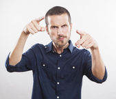 Angry young man accusing you — Stock Photo