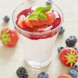 Pannacotta with wild berries and strawberry sauce, italian desse — Stock Photo #56330315