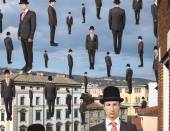Businessmen floating in the sky — Stock Photo