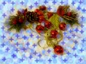 Christmas branch with spheres and snowflakes — Stock Photo