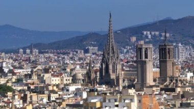 Barcelona  from atop Montjuïc hill — Stock Video