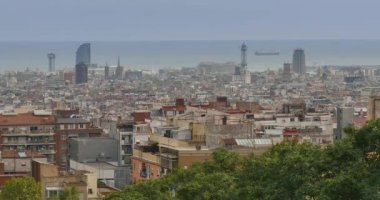The view of Barcelona from  Park Güell — Stock Video