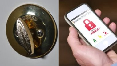 Man remotely unlocks home security system — Stock Video