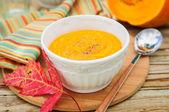 Pumpkin Cream Soup in a White Bowl — Stock Photo