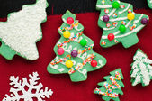 Decorated Christmas Tree Cookies — Stock Photo