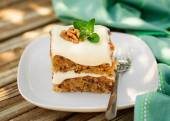 A Piece of Moist Zucchini and Walnut Cake with Cream Cheese Fros — Stock Photo