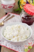 Cottage Cheese (Quark, Cream Cheese, Curd) in a White Bowl — Stock Photo