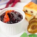 Breakfast: Cheesecake, Plums amd Plum and Orange Jam — Stock Photo #55745195