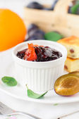 A Bowl (Ramekin) of Plum and Orange Zest Jam — Stock Photo