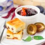 Breakfast: Cheesecake, Plums amd Plum and Orange Jam — Stock Photo #57159761