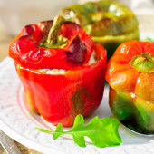 Capsicums Stuffed with Cheese and Herbs — Stock Photo