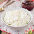Cottage Cheese (Quark, Cream Cheese, Curd) in a White Bowl — Stock Photo #57162495