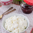 Cottage Cheese (Quark, Cream Cheese, Curd) in a White Bowl — Stock Photo #59813345