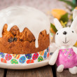 Rustic Style Kulich, Russian Sweet Easter Bread Topped with Suga — Stock Photo #66289339