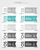 Turquoise rectangular modern ribbon stickers — Stock Vector