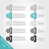Turquoise infographic circles with numbers and letters — Stock Vector