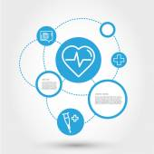 Healthcare circle concept with heart — Stock vektor