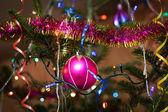 Christmas balls outdoors — Stock Photo
