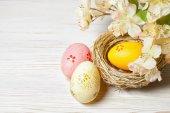 Easter egg in nest — Stock Photo
