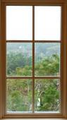 View from inside from a beautiful traditional window — Stock Photo
