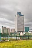Dark clouds over Gazprom tower headquarter. Moscow. — Stock Photo