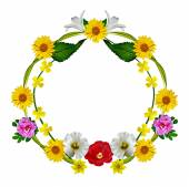 Round frame of flowers — Stock Photo