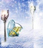 板凳。冬季 — 图库照片