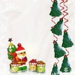 Christmas card. Santa Claus and gifts. — Stock Photo #54682683