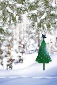 Christmas tree on a background of a winter landscape — 图库照片