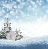 Angel and Christmas tree — Stock Photo