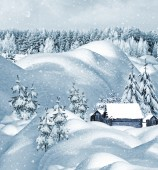 The village in winter forest — Stock Photo
