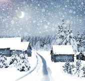 The village in winter forest — Stockfoto