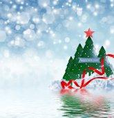 Winter landscape and Christmas tree — Foto de Stock