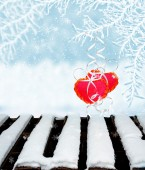 Background of snow.heart — Stock Photo