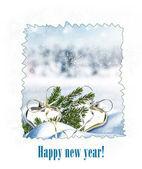 Christmas card. Toys in the snow. — Zdjęcie stockowe