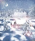The village in winter forest — Zdjęcie stockowe