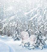 Angel and Christmas tree — ストック写真
