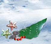 Winter background with Christmas toys — Stock fotografie